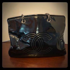 Chanel Black Patent Large Accordion Tote Bag